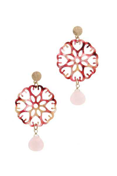 ACETATE FLORAL POST DROP EARRING