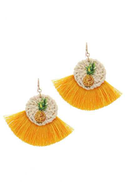 PINEAPPLE PRINT FAN TASSEL DROP EARRING