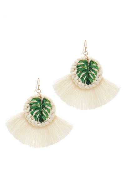 TROPICAL LEAF PRINT FAN TASSEL DROP EARRING