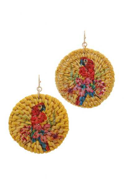 MACAW PRINT CIRCLE DROP DROP EARRING