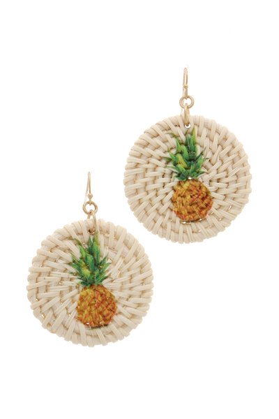 PINEAPPLE PRINT ROUND DROP EARRING