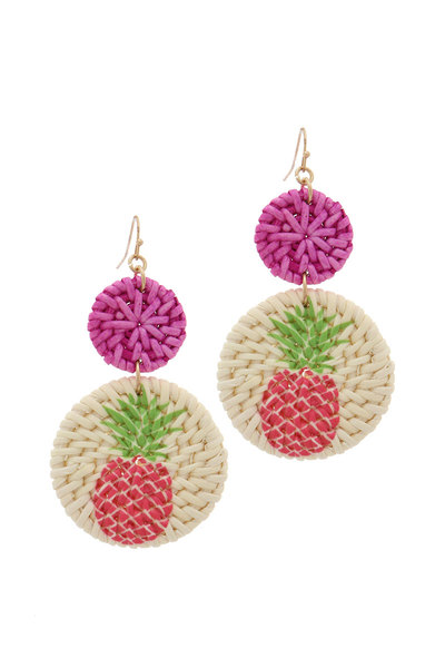 PINEAPPLE PRINT DOUBLE CIRCLE POST DROP EARRING