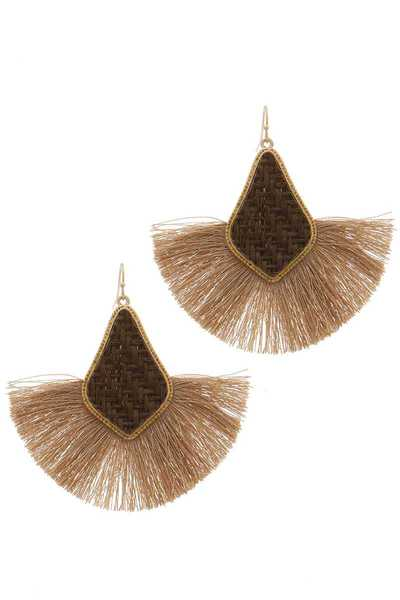 MOROCCAN SHAPE FAN TASSEL DROP EARRING