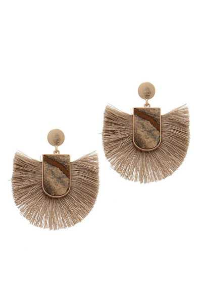 FAN TASSEL POST DROP EARRING
