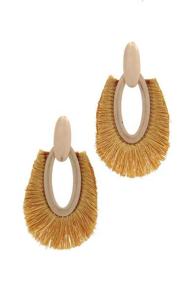 OVAL SHAPE FAN TASSEL POST DROP EARRING