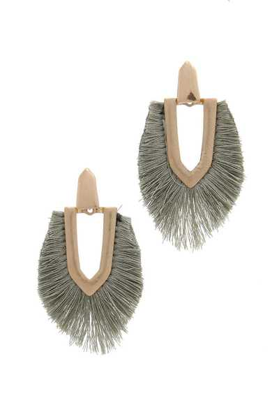 FAN TASSEL METAL POST DROP EARRING