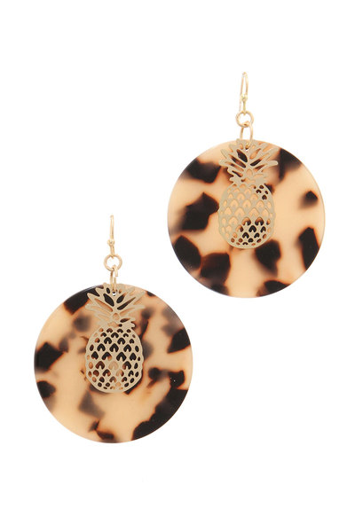 PINEAPPLE ACETATE CIRCLE DROP EARRING
