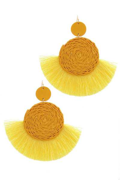 DOUBLE CIRCLE FAN TASSEL POST DROP EARRING