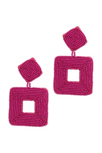 SEED BEAD SQAURE SHAPE POST DROP EARRING