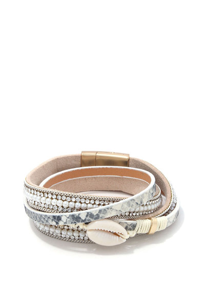 COWRIE SEASHELL TWISTED MAGNETIC BRACELET