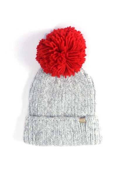 TWO TONE COLORED POM POM BEANIE