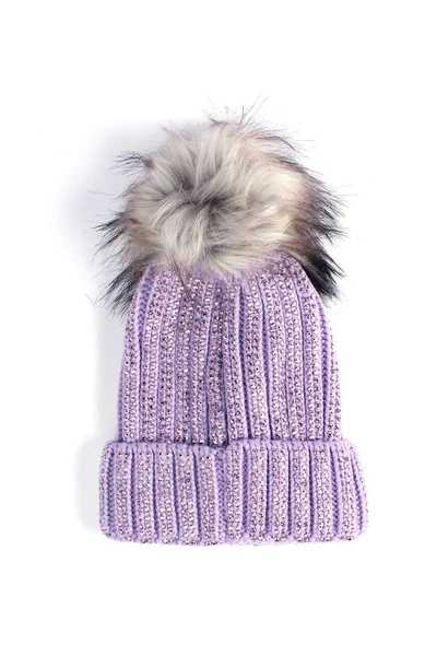RHINESTONE COLORED FAUX FUR POM POM BEANIE