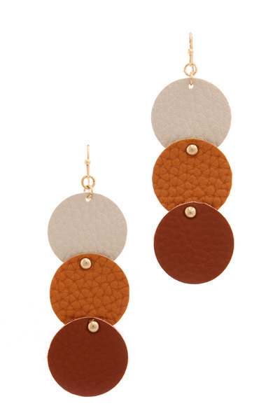 TEXTURED CUT OUT CIRLCE LINKED DROP EARRING