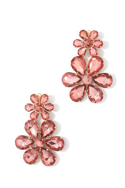 DOUBLE FLOWER RHINESTONE CLIP EARRING