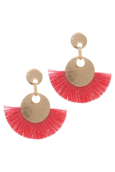 HAMMERED CIRCLE FAN TASSEL POST DROP EARRING