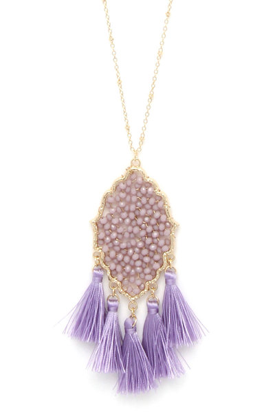 BEADED MOROCCAN SHAPE TASSEL PENDANT NECKLACE