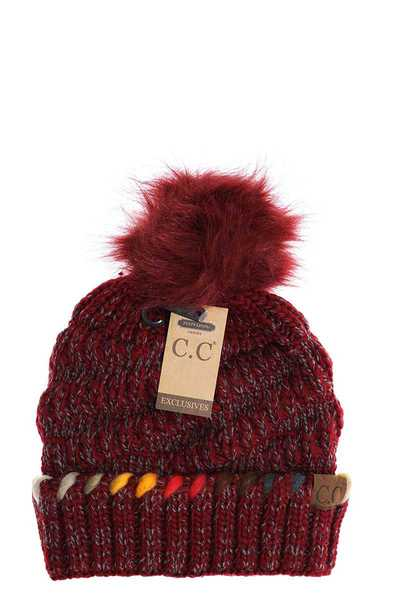 CC POM BEANIE WITH OMBRE DYED ACCENT YARN  FUZZY LINED