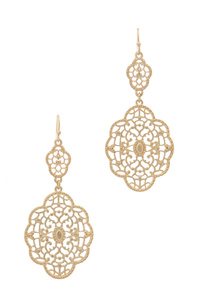 DOUBLE FILIGREE MOROCCAN SHAPE DANGLE DROP EARRING