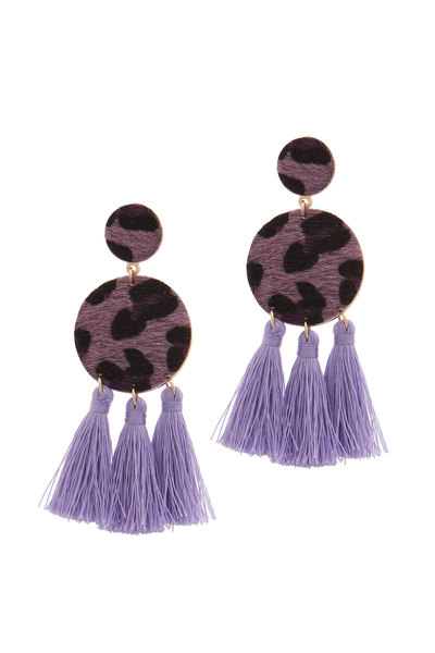 DOUBLE CIRCLE TASSEL POST DROP EARRING