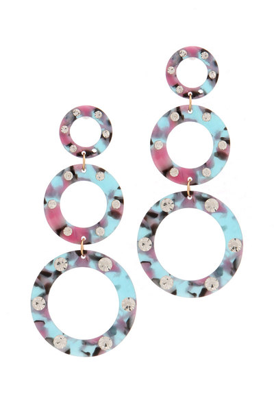 ACETATE RHINESTONE CIRCLE LINKED DROP EARRING