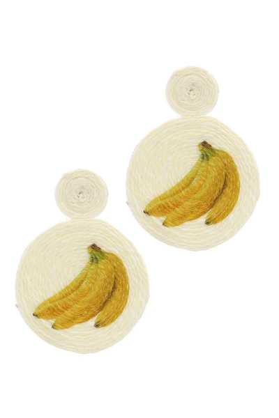 BANANA DOUBLE CIRCLE POST DROP EARRING