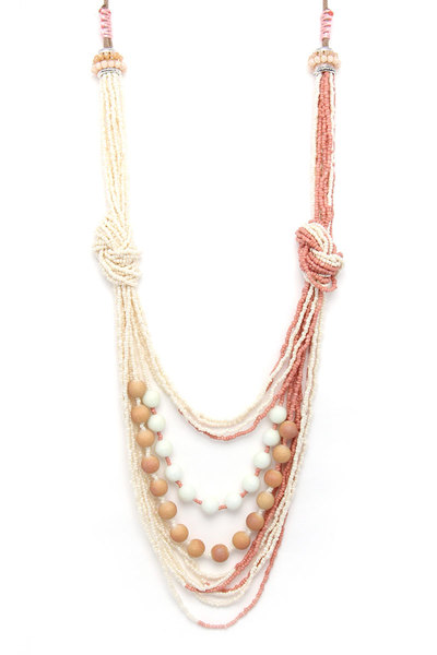 BEADED LAYERED KNOTED LOOP NECKLACE