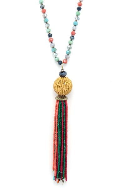 BEADED BALL MULTI STRAND PENDANT NECKLACE