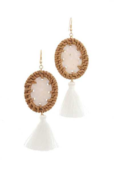 OVAL SHAPE TASSEL DROP EARRING