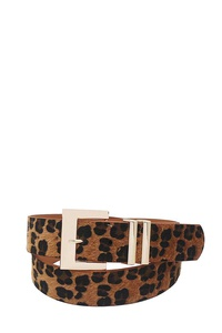 FASHION LEOPARD FUR ACCENTED BELT