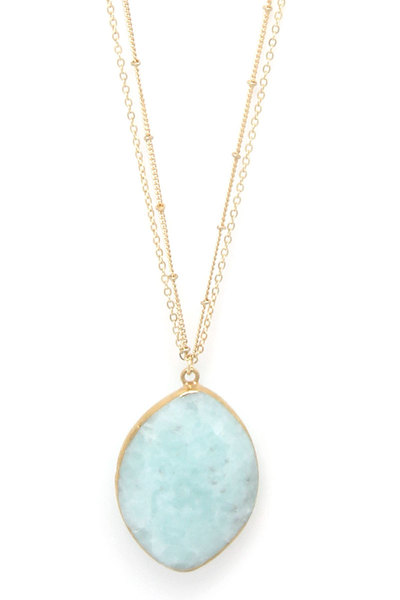 NATURAL STONE OVAL SHAPE PENDANT DOUBLE CHAIN NECKLACE