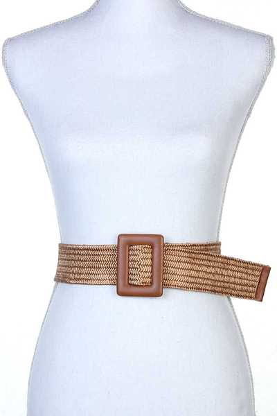 SQUARE BUCKLE STRETCH PULL THROUGH BELT
