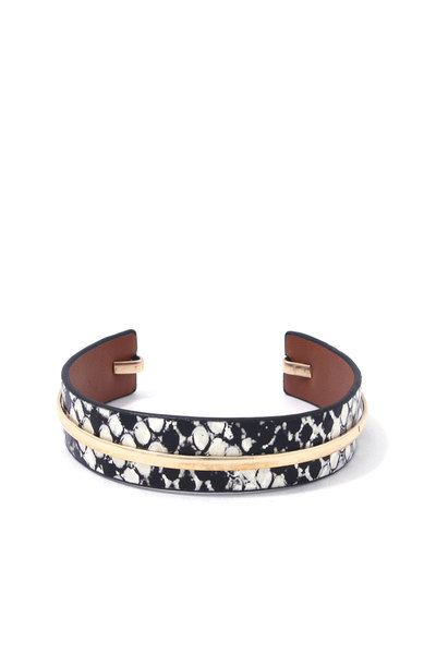 ANIMAL PRINT METAL BAR CUFF BRACELET