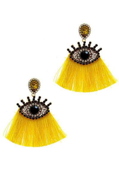 TRENDY RHINESTONE EYE AND FAN TASSEL EARRING