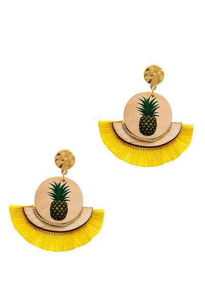 MODERN TRENDY PINEAPPLE AND TASSEL DROP EARRING