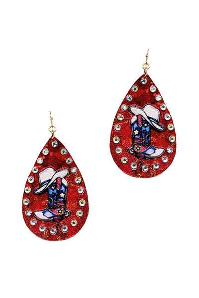 MODERN CHIC WESTERN BOOTS PRINTING TEAR DROP EARRING