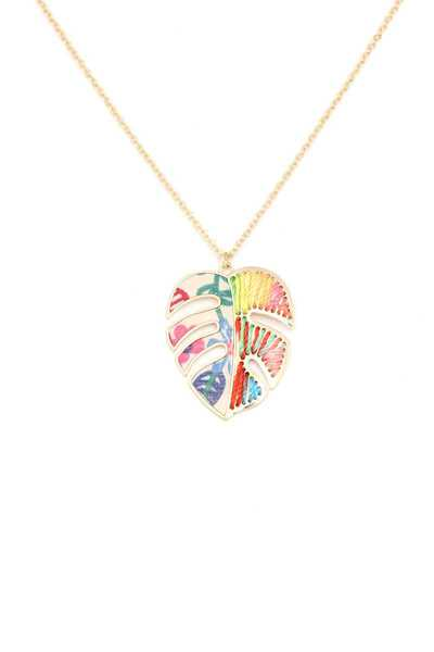 MULTI COLOR TROPICAL LEAF PENDANT NECKLACE
