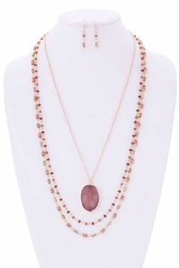 DRUSY STONE N BEAD 3LAYERED NECKLACE