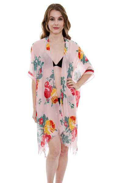 LONG LIGHTWEIGHT FLORAL PRINT TOPPER COVER UP KIMONO CARDIGAN WITH SHORT TRIMS