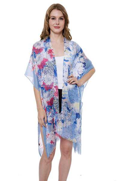 LONG LIGHTWEIGHT FLORAL TOPPER COVER UP KIMONO CARDIGAN