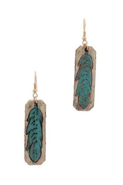 FEATHER STAMPED LEATHER DROP EARRING