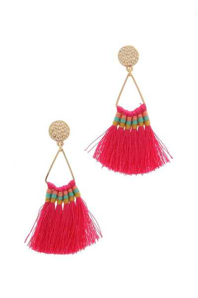 TEXTURED CIRCLE TASSEL POST DROP EARRING