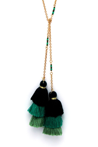 2 LAYERED TASSEL CHARM LONG NECKLACE