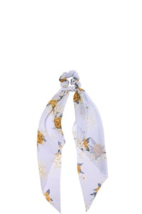 FLORAL PRINT CHIFFON SCARF PONY TAIL HAIR CRUNCHIE