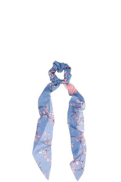 FLORAL PRINT MODERN SCARF PONY TAIL HAIR SCRUNCHIE