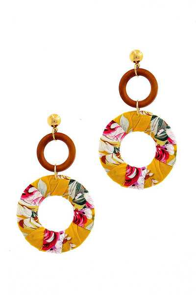 STYLISH FLOWER PRINT WRAPED HOOP DROP EARRING
