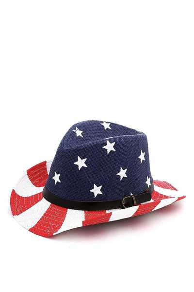STYLISH USA FLAG FEDORA WITH BELT HAT