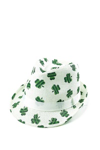 STYLISH CLOVER ST PATRICKS DAY FEDORA HAT