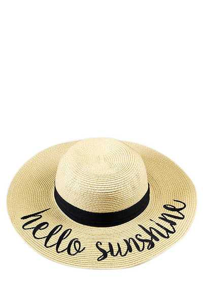 HELLO SUNSHINE EMBROIDERED FLOPPY SUN HAT