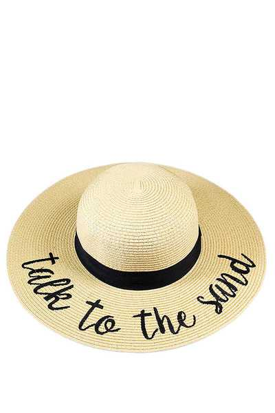 TALK TO THE SAND EMBROIDERED FLOPPY SUN HAT