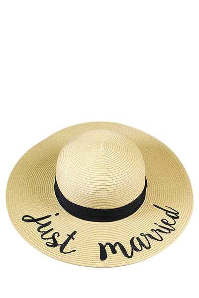 JUST MARRIED EMBROIDERED FLOPPY SUN HAT